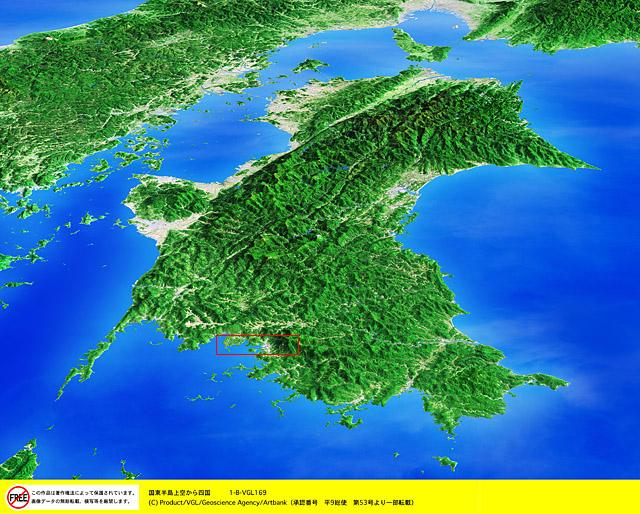 衛星写真・衛星画像・空撮 四国 国東半島  □等倍サイズ切り抜き  衛星写真・衛星画像・空撮 国