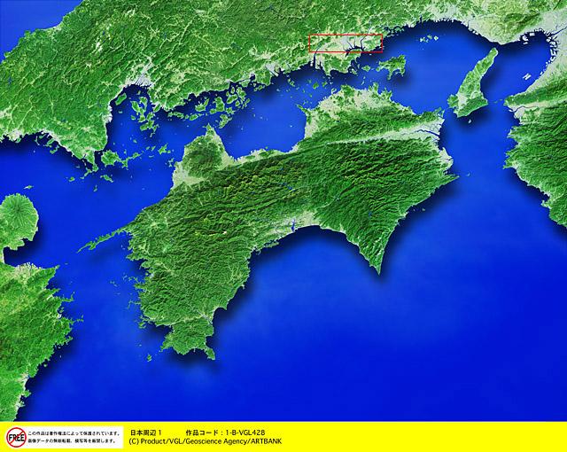 衛星写真・衛星画像・空撮 四国・影1  □等倍サイズ切り抜き  衛星写真・衛星画像・空撮 四国・