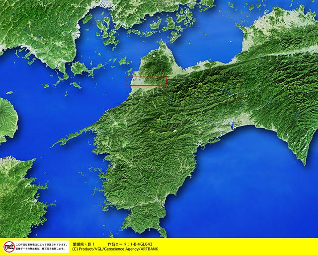 衛星写真・衛星画像・空撮 愛媛県・影1  □等倍サイズ切り抜き  衛星写真・衛星画像・空撮 愛媛